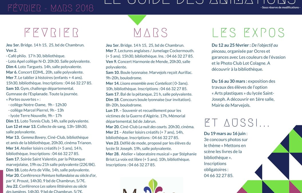 Animations à Marvejols : demandez le programme !