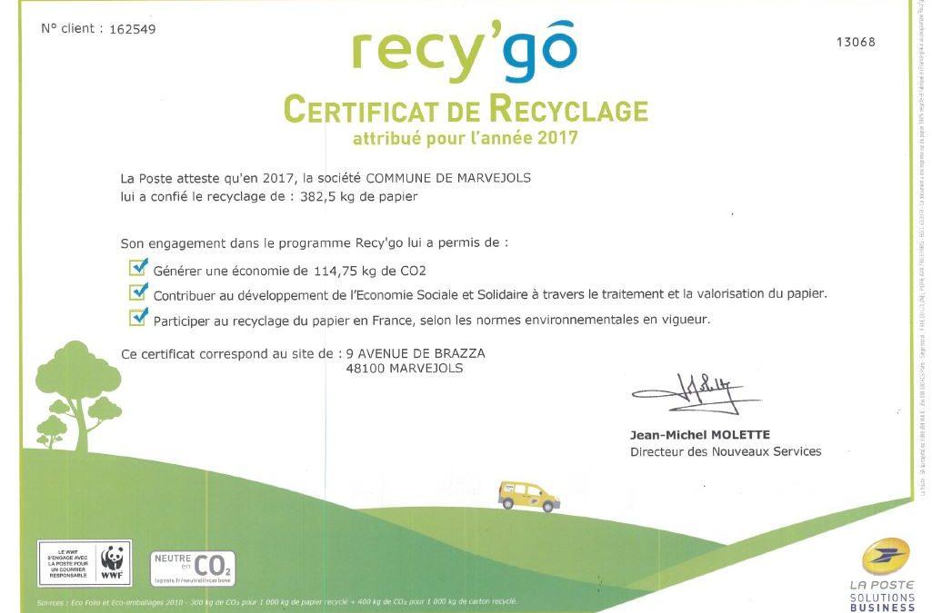 La Ville saluée pour sa démarche de recyclage